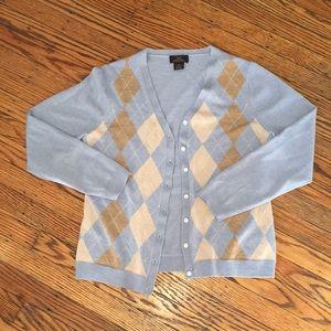 Brooks Brothers Blue Merino Wool Argyle Cardigan